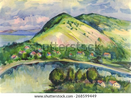 The lake village on the big mountains in the summer. Painting. Watercolor - stock photo