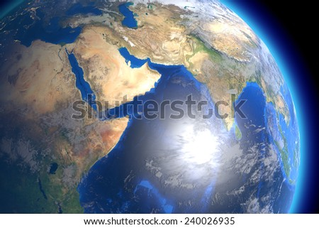 the land mass of the African continent, Saudia Arabia and Asia with the Indian Ocean: computer generated image of planet earth in space. Elements of this image furnished by NASA. - stock photo