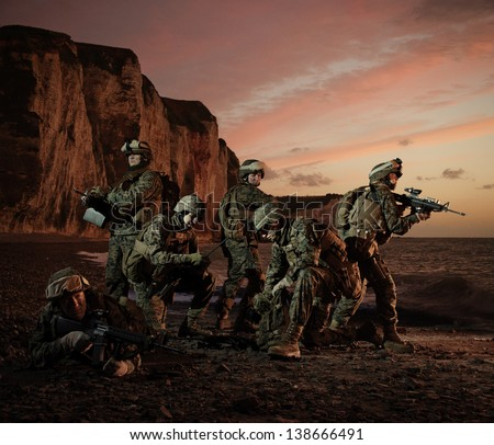 The landing of American marines in Normandy. Regrouping. - stock photo