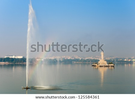 The landmark Buddha statue in Hyderabad, India in the Tank Bund, the lake in the center of the city. - stock photo