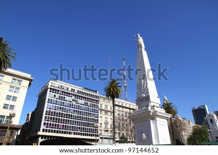 "The landmark called ""Piramide de Mayo"" on the Plaza de Mayo in Buenos Aires, Argentina."