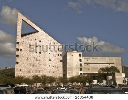 The landmark main Laboratory and Classroom building at the California Polytechnic University (Cal Poly Pomona) at Pomona - a major public university. - stock photo