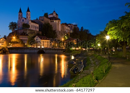 The landmark of Aarburg on the banks of the Aare. - stock photo
