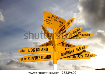 The landmark signpost at Bluff at the bottom of the South Island, New Zealand - stock photo