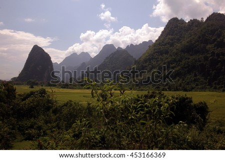 the landscape and nature neat the village of Kasi at the road 13 on the route from Vang Vieng to Luang Prabang in central lao in southeastasia