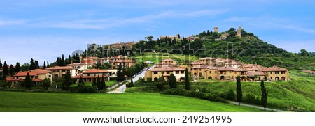 The landscape around the city of Monticello, Tuscany, Italy - stock photo