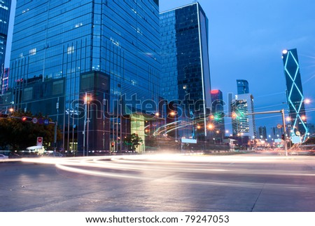 The landscape at night in Shenzhen, China - stock photo