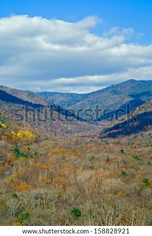 The landscape in autumn mountainous taiga.