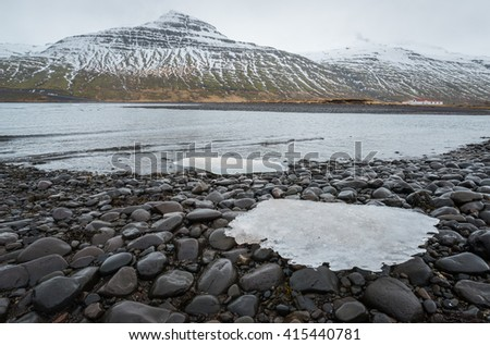 The landscape in east fjord of Iceland. - stock photo