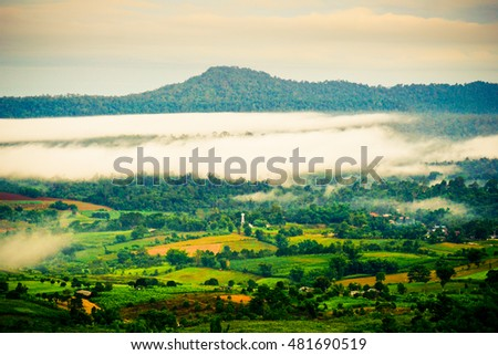 The landscape photo, beautiful sea fog in morning time at Phu Tub Berk Viewpoint.Phetchabun province Thailand; Traveler are crowed. There is beautiful for sightseeing