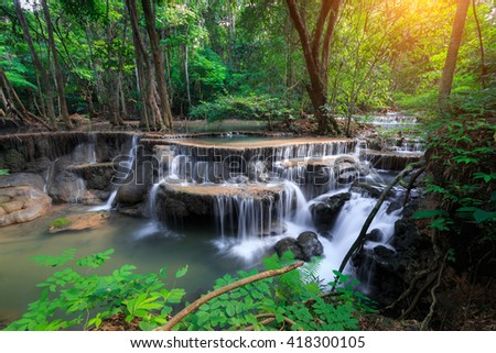 The landscape photo, Huay Mae Kamin Waterfall, beautiful waterfall in rainforest, Kanchanaburi province, Thailand