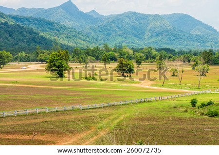 The landscape view of bald mountain or grass mountain in Ranong province, Southern Thailand - stock photo