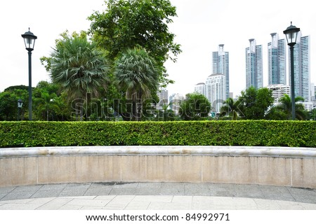 The landscape view of park with building background - stock photo