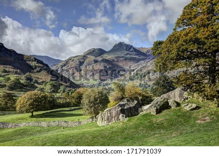 The Langdale Pikes, Lake District, England, from Copt Howe - stock photo