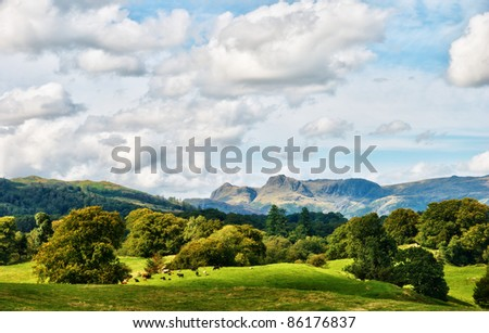 The Langdale Pikes viewed from Latterbarrow - stock photo