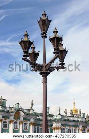 The lantern on Palace square in the centre of Saint Petersburg