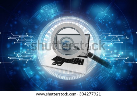 The laptop analyzed under a magnifying glass