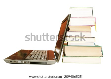 The laptop and books, encyclopedias on a white background