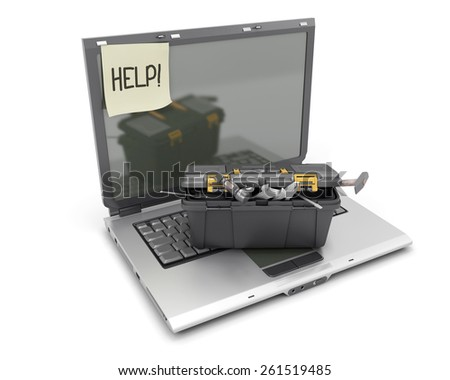 The laptop with a box from tools on the keyboard and a sticker about the help. 3d render image. - stock photo