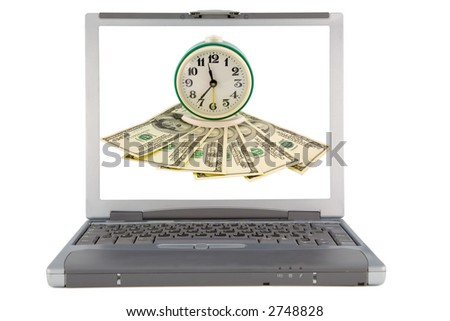 the laptop with concept background isolated with clipping path - stock photo