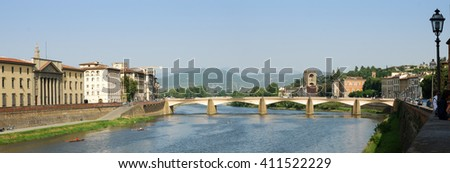 The large panoramic view of Ponte alle Grazie bridge on Arno river