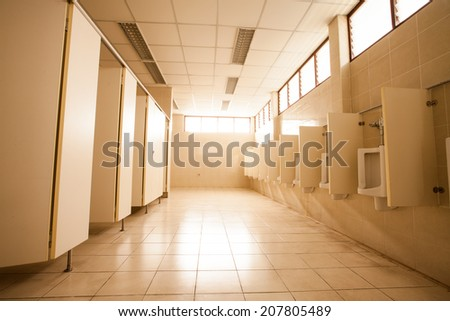 The large Public toilet / Urinals. - stock photo