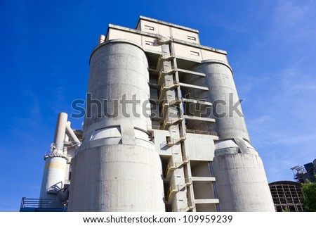 The Large towers of concrete plant - stock photo