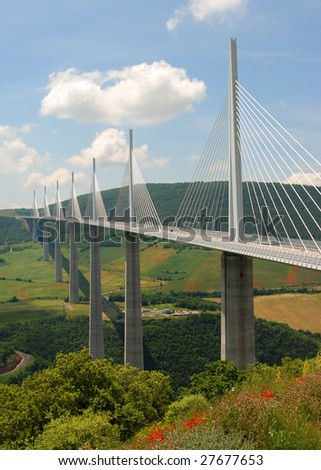 The largest bridge in the world, the Millau bridge in France - stock photo