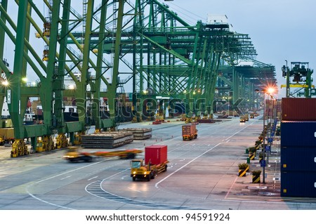 The largest container port terminal - Singapore - stock photo