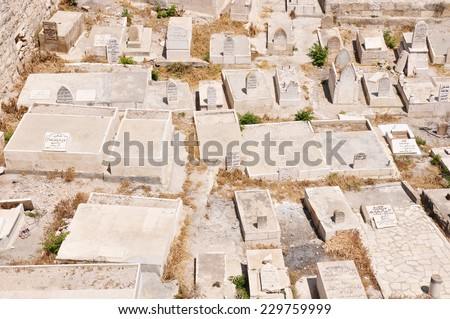 The largest Jewish cemetery in the World, Mount of Olives, Jerusalem, Israel - stock photo