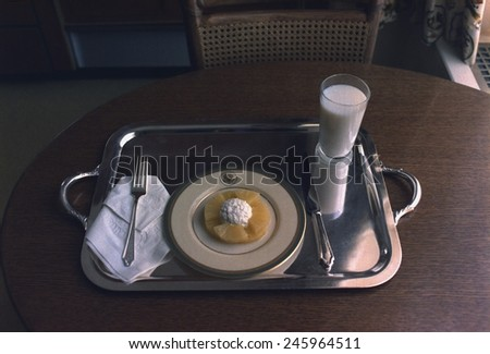 The last meal Nixon ate at the White House prior to him leaving the White House after his resignation. Aug. 9 1974. - stock photo
