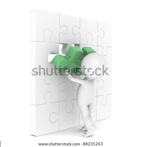 The last Piece. 3d little human character with a Placing the last Piece of a Jigsaw Puzzle. Green.