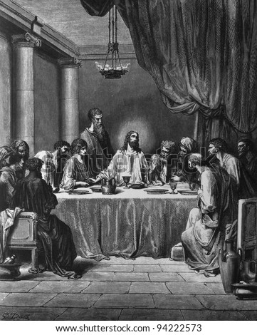 The Last Supper. 1) Le Sainte Bible: Traduction nouvelle selon la Vulgate par Mm. J.-J. Bourasse et P. Janvier. Tours: Alfred Mame et Fils. 2) 1866 3) France 4) Gustave Doré - stock photo