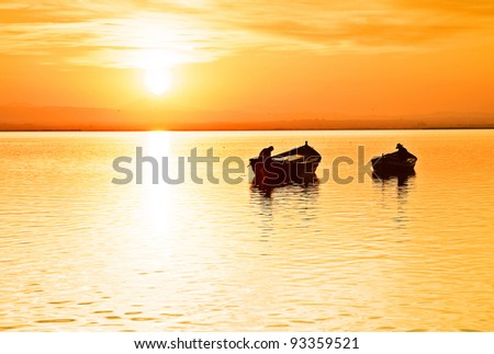 the last traditional fishermen - stock photo
