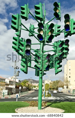 The last traffic light in Eilat, Israel