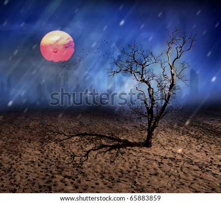 The Last Tree, conceptual surreal style (save environment concept) - stock photo
