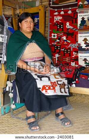 the latin woman in national clothes. ecuador. south america - stock photo