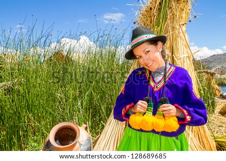 the latin woman in national clothes. Peru. south america - stock photo