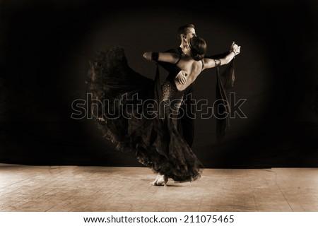 The Latino dancers in ballroom  - stock photo