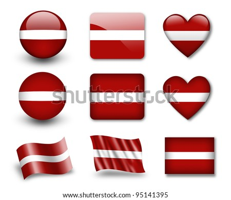 The Latvian flag - set of icons and flags. glossy and matte on a white background. - stock photo