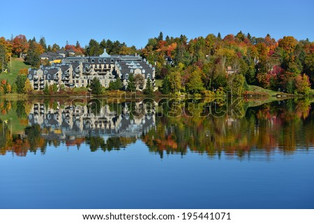 The Laurentian forest in the fall, Lake Rond, Sainte-Adele, Quebec, Canada - stock photo