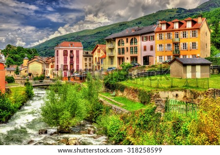 The Lauze river in Ax-les-Thermes - France, Midi-Pyrenees - stock photo