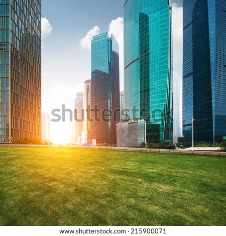 The lawn in the city of shanghai - stock photo