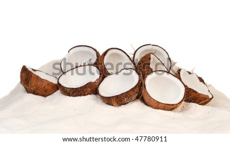 The layout of fresh coconut on coconut powder - stock photo