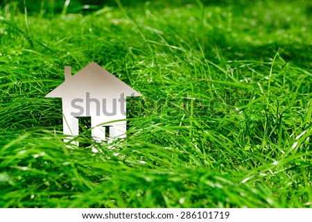 The layout of the paper miniature house in the park on the green, lush grass