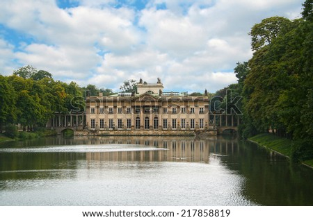 The Lazienki Palace on the Water, Warsaw, Poland  - stock photo