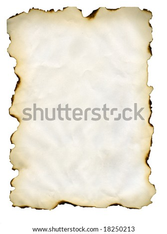 The leaf of a paper burned is isolated on a white background