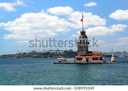 The Leander's Tower (Kiz Kulesi) istanbul, Turkey - stock photo