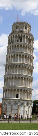 The Leaning Tower of Pisa in Italy, a miracle of architecture and engineering. - stock photo