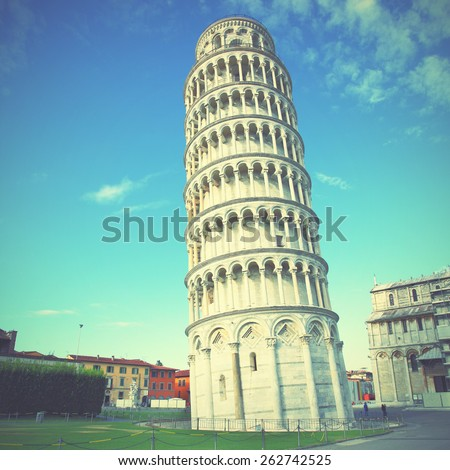 The Leaning Tower of Pisa in Italy. Instagram style filtred image - stock photo